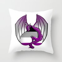 asexual Throw Pillows featuring Asexual Wyvern by (i)Rene