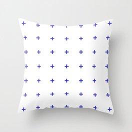 PLUS ((berry blue on white)) Throw Pillow