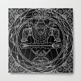 Arjuna & Shiva WnB Metal Print