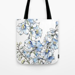 Blue Delphinium Flowers Tote Bag