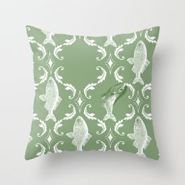In which a fish frees itself (green option) Throw Pillow