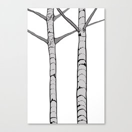 Poplar Tree Illustrated Print Canvas Print