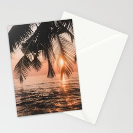 Tropical Ocean Palm Tree Sunset Stationery Cards