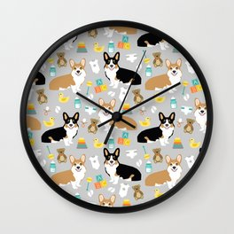 Corgi baby pillow corgi tri colored corgi red cute baby expecting print pattern design Wall Clock