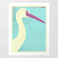 crane Art Prints featuring Crane by Cole Lindsey Blotcky