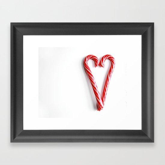 Candy Cane Heart Framed Art Print