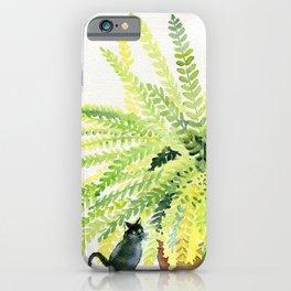 Cat and Fern iPhone Case