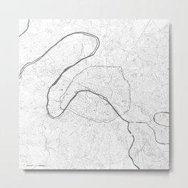 The Map of Paris Line Drawing Metal Print