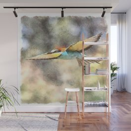 European Bee Eater In Flight Watercolor Wall Mural