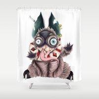 bucky Shower Curtains featuring Bucky by Maria Gabriela Arevalo Reggeti