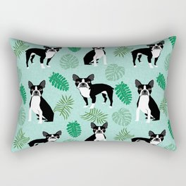 boston terrier monstera tropical summer dog breed gifts pure breed pets Rectangular Pillow