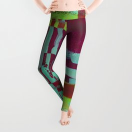 Raspberry Jam - Textured, abstract, raspberry, cyan and green painting Leggings