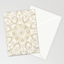 Boho Chic gold mandala design Stationery Cards