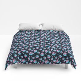 Pattern with Baby Feet  and Hearts on dark blue background Comforters