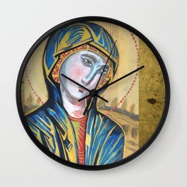 Virgin Mary. MMXIII. milk paint on panel Wall Clock