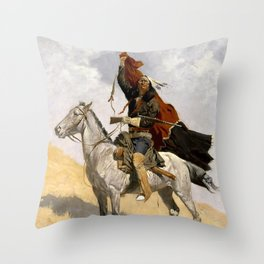 "Frederic Remington Western Art ""The Blanket Signal"" Throw Pillow"
