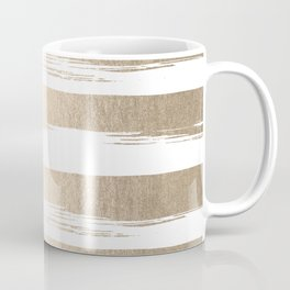 White Gold Sands Painted Thick Stripes Coffee Mug