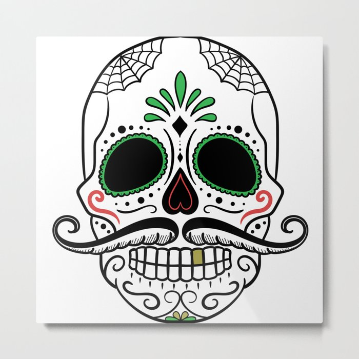 Day Dead Sugar Skull Metal Print