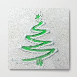 Simple Christmas Tree Hand Drawn in Snow on Green Festive Holiday Minimal Art Metal Print