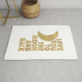 Love You to the Moon and Back, Gold and White Palette Rug