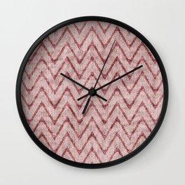 Rich Dusty Pink Zigzag Faux Velvet Chevron Wall Clock