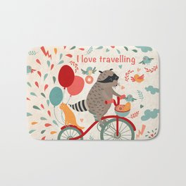 Cute raccoon on a bicycle with a cat, birds, balloons and drops. 'i love travel' text. Trip, journey Bath Mat