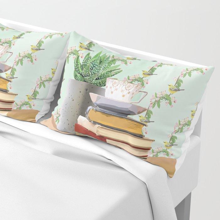 Tea and book love Pillow Sham