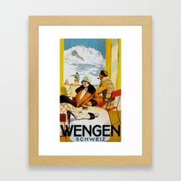 Vintage Wengen Switzerland Travel Framed Art Print