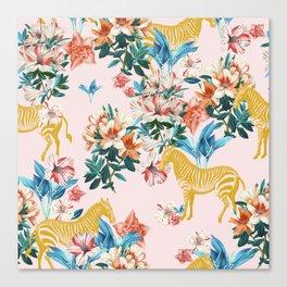 Floral & Zebras Canvas Print