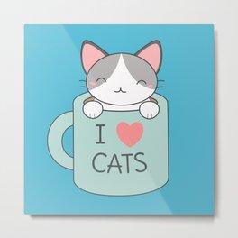 Kawaii Cute Cat Kitten Metal Print