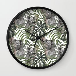 Koala Bear Pattern Print Watercolor Tropical Palm Green leaves Monstera Summer Art Forest Jungle Illustration Wall Clock