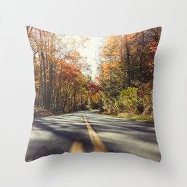 Long mountain road in autumn Throw Pillow