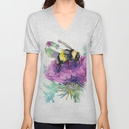Bumblebee and Thistle Flower, honey bee floral Unisex V-Neck