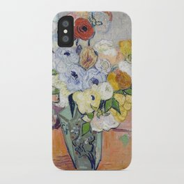Vincent Van Gogh - Still Life - Japanese Vase with Roses and Anemones iPhone Case