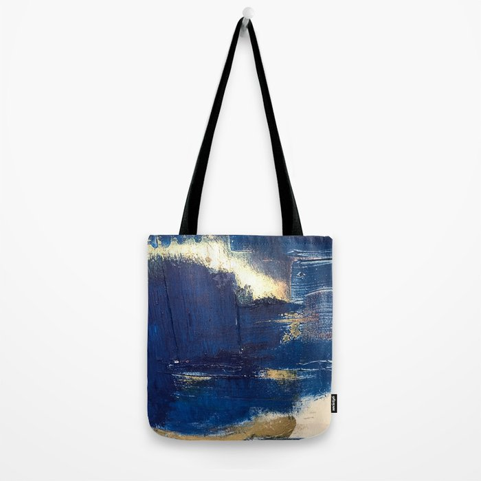 Halo [2]: a minimal, abstract mixed-media piece in blue and gold by Alyssa Hamilton Art Tote Bag