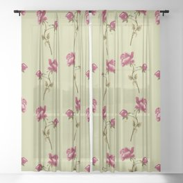 Embroidered Rose Sheer Curtain