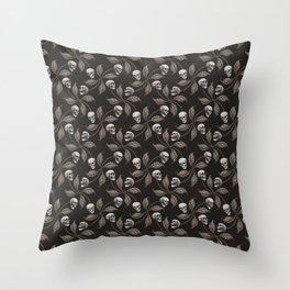 BLACK & GRAY CHERRY SKULL Throw Pillow