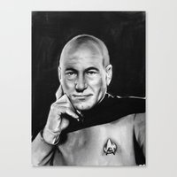 picard Canvas Prints featuring picard by dollface87