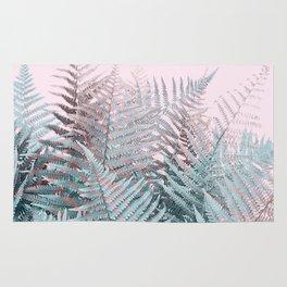Duotone Fern Jungle on Soft Pink Rug