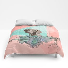 Eclectic Geometric Redbone Coonhound Dog Comforters