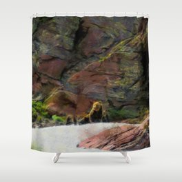 Grizzlies atop Grinnell Glacier in Glacier National Park Shower Curtain