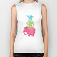freeminds Biker Tanks featuring Elephants by Freeminds