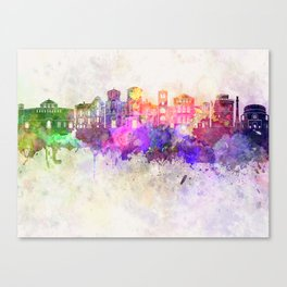 Thessaloniki skyline in watercolor background Canvas Print