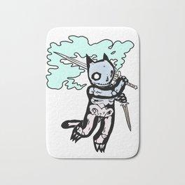 Skeleton Cat with Sword Bath Mat
