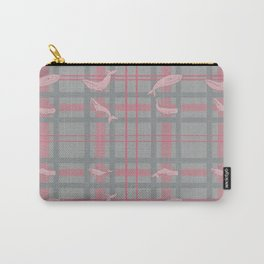 Whale Plaid #1 PINK and GREY Carry-All Pouch