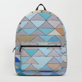 Triangle Pattern no.1 Blues and Browns Backpack