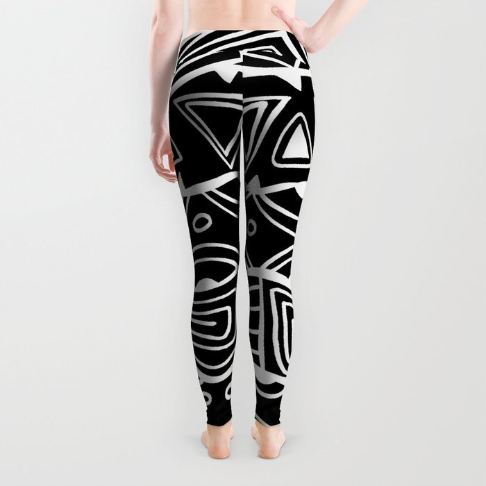 Wavy Tribal Lines with Shapes - White on Black - Doodle Drawing Leggings