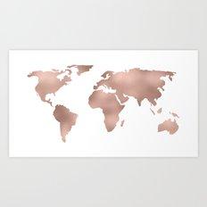 World Map Rose Gold Shimmer Art Print