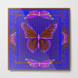 Purple Chocolate Lavender Blue Butterfly Night Abstract Metal Print