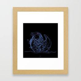 Swan 1. Light blue on Black background-(Red eyes series) Framed Art Print